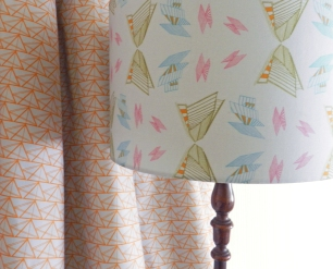 Geometric Triangle Fabric with Lampshade