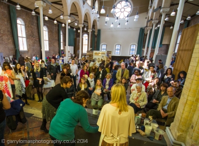 Crowds gathered for an up-cycling workshop with Sian of Moregeous