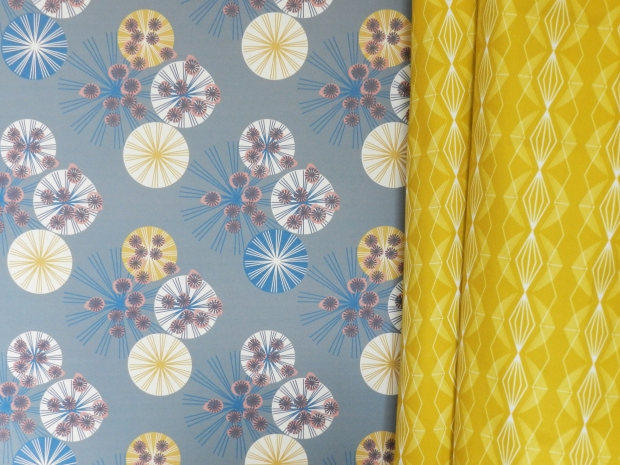 HEMLOCK MIDNIGHT WALLPAPER:IMPERIAL MUSTARD FABRIC - ANNABEL PERRIN
